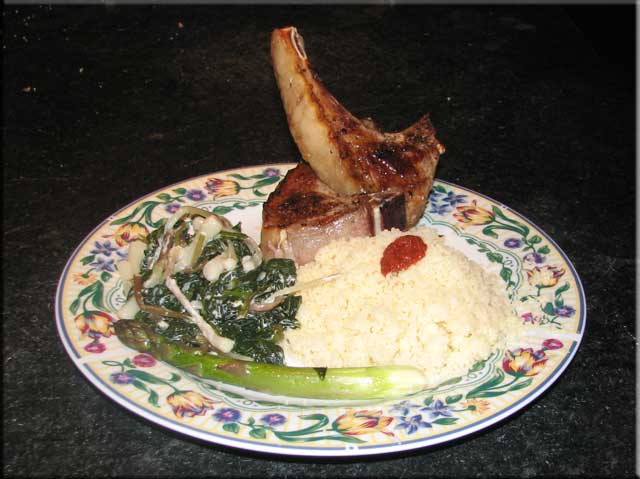Ramps, Lamb chops, cous-cous with harissa