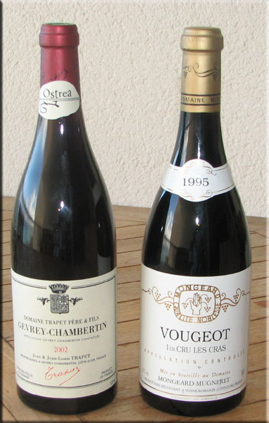 2002 Gevrey-Chambertin Ostra from Trapet and 1995 Vougeot Premier Cru Les Cras