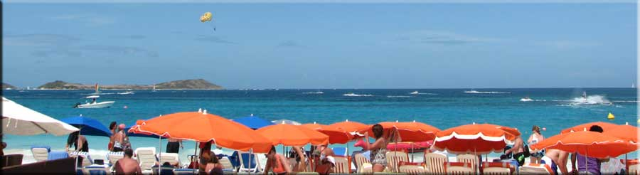Orange umbrellas