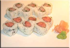 Spicy tuna rolls and Yellowtail and scallion rolls