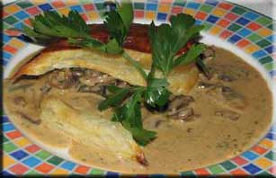 Mushrooms in puff pastry