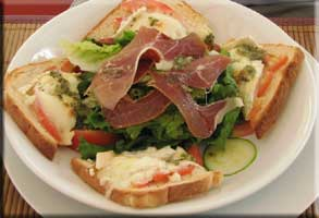 Chevre and Serrano ham salad