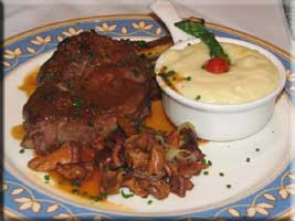 veal chop with chanterelles