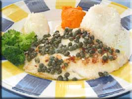 Grouper with capers and butter