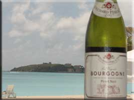 Pinot Noir with Great Bay and Fort Amsterdam on the Divi peninsula