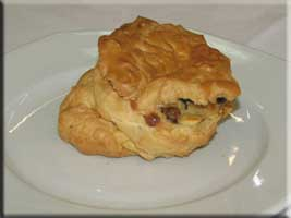 puff pastry with onions, mushrooms, and bacon