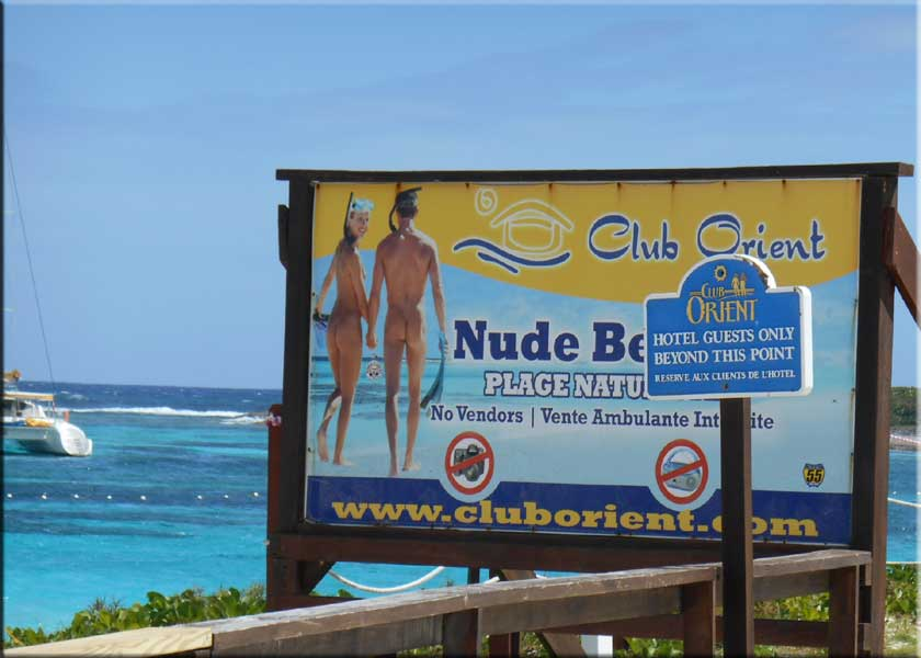 SXM Beaches On The Left Is New Sign At NW Boundary Of Club Orient Beach There Plenty Here But People Also